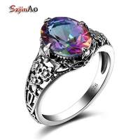 Szjinao Rose Ringe Inlay Mystic Feuer Regenbogen Topaz Für Frau Ring Sterling Silber 925 anillos de plata mujer