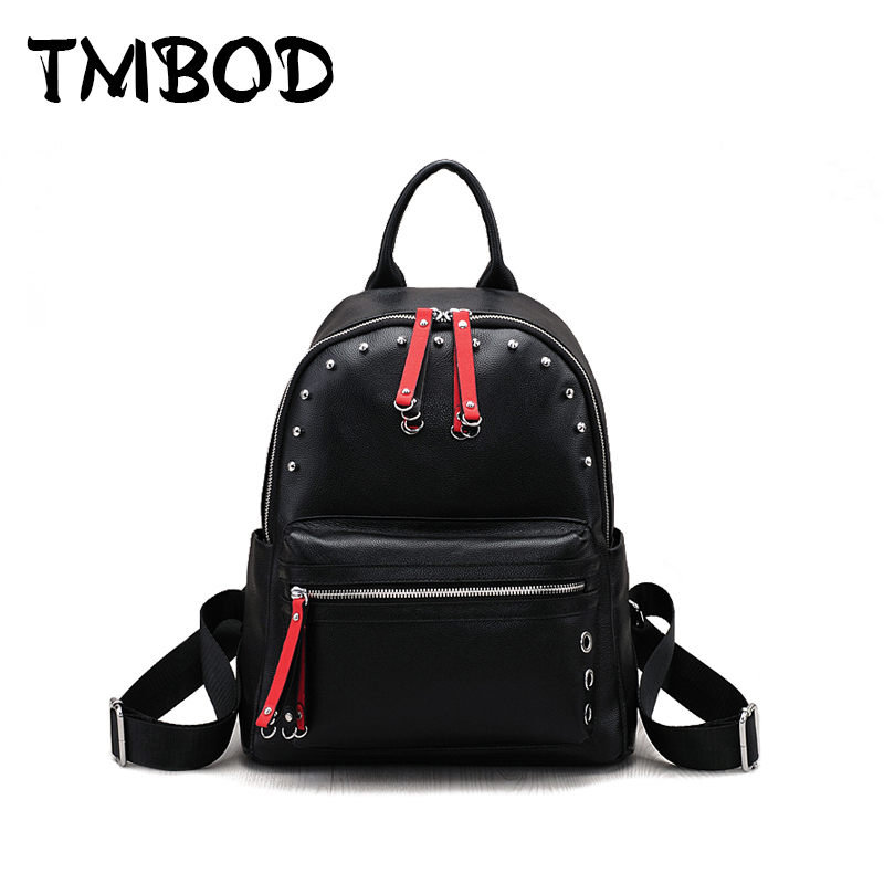 New 2018 Cute Studs Backpack For Teenagers Women Genuine Leather Backpacks Girls Lady Student School Travel Bags bolsas an833 new 2017 women backpack painting school bags for teenagers girls stylish children bagpack ladies travel bag student kids mochila