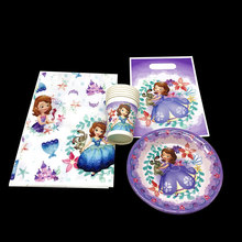 37pcs Disney Sofia Theme Child Birthday Party Decoration Paper Tablecloth Cup Plate Princess Baby Shower Supply