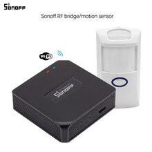 Sonoff rf ponte wi fi conversor 433mhz sensor de movimento pir sem fio detector casa inteligente controle remoto suporte ios android