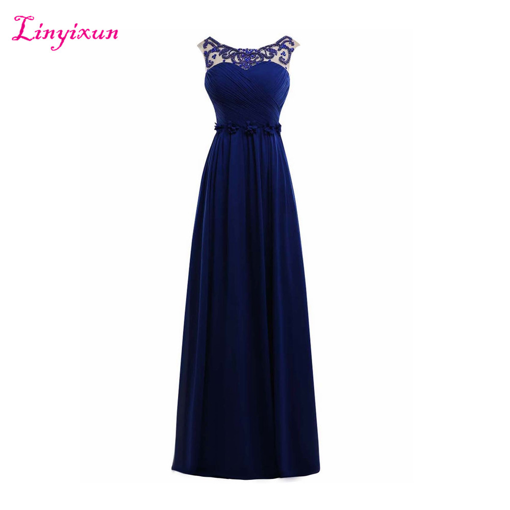 Linyixun Real Photo Royal Blue Corset Chiffon Prom Dresses 2017 Elegant Long Sexy Sleeveless Cheap Formal Evening Dresses