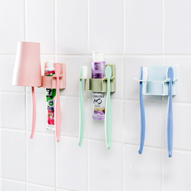 Bathroom Accessories Toothbrush Holder Wall Suction Cups Shower Holder Cute Sucker Toothbrush Holder Suction Hooks Bathroom Set image
