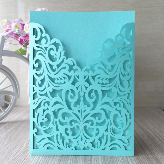 20pcs Lot Free Shipping Newest Laser Cut Cards Arabic Dark Purple Tiffany Blue Wedding