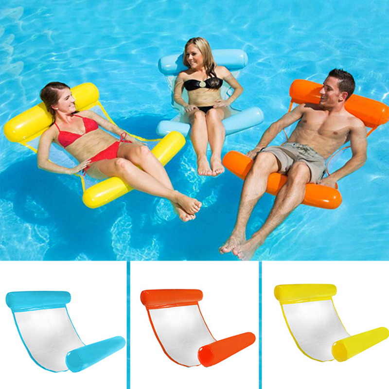 PVC Water Hammock Stripe Pattern Lounge Foldable Inflatable Floating Bed Beach Swimming Lounger Backrest Recliner Sleeping Chair