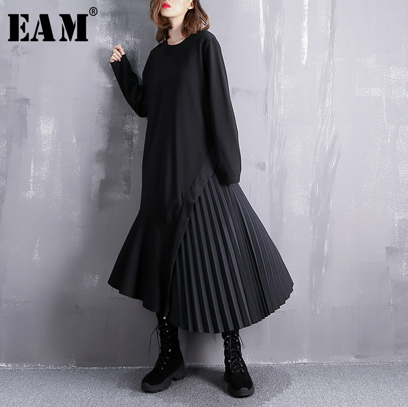 [EAM] 2019 New Spring Round Neck Long Sleeve Black Loose Side Pleated Split Joint Irregular Dress Women Fashion Tide JI537