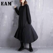 [EAM] 2019 New Spring Round Neck Long Sleeve Black Loose Side Pleated Split Joint Irregular Dress Women Fashion Tide JI537