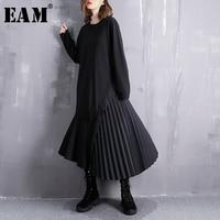 [EAM] 2019 New Spring Winter Round Neck Long Sleeve Black Loose Side Pleated Stitch Irregular Dress Women Fashion Tide JI537