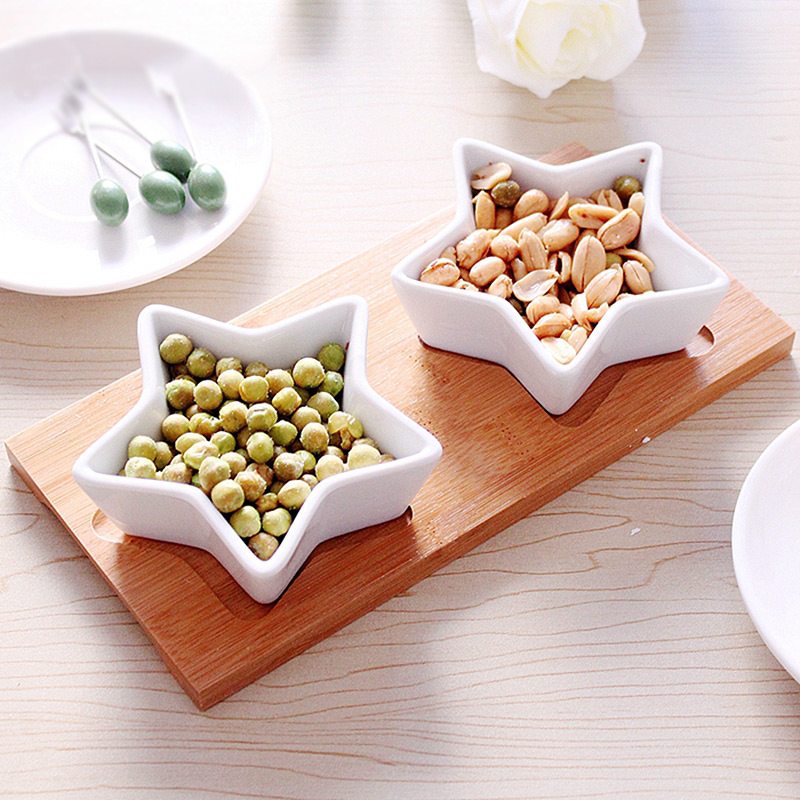 Japan Style Creative Decorative tableware white ceramic porcelain pentagram bowl*2 bamoo tray*1 snack dry fruit bowls 3pcs/set