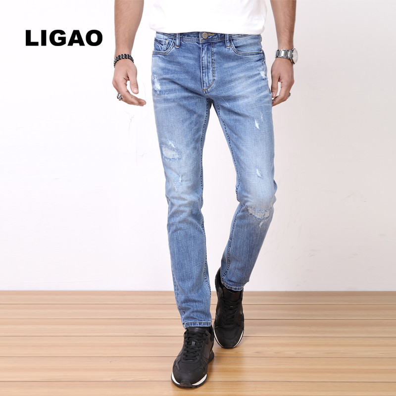 LIGAO 2017 Men's Jeans Elastic Pencil Pants Slim Regular Fit Trendy Ripped Hole Scratched   Men Jeans Full Length Trousers ligao 2017 men s jeans straight trousers pants elastic men fashion ripped slim denim pants full length plus size brand clothing