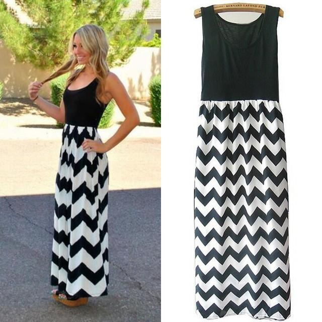 Women Summer Beach Boho Maxi Dress High Quality Brand Striped Print Long Dresses Feminine Plus Size