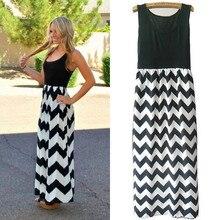 Women Summer Beach Boho Maxi Dress 2016 High Quality Brand Striped Print Long Dresses Feminine Plus Size