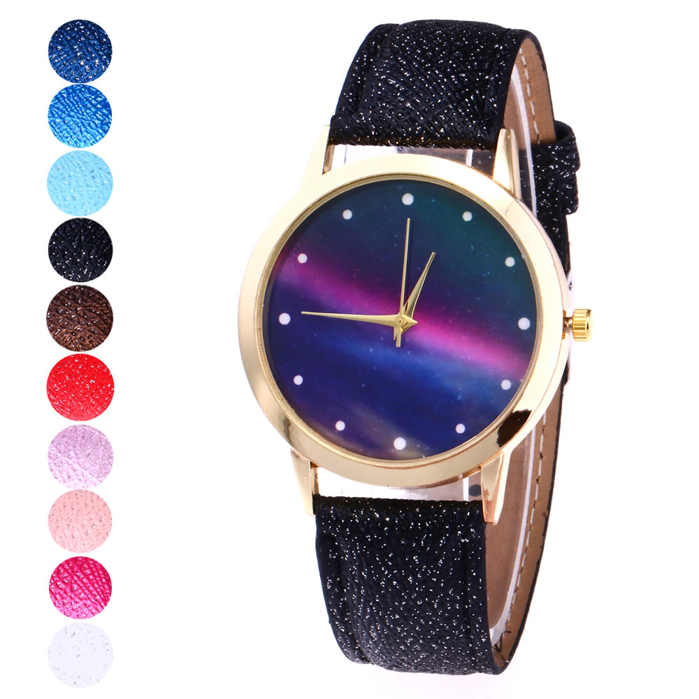 Fashion Women Men Simple Quartz Watch Star Sky Big Dial PU Leather Wristband Casual Watches Gifts ~ TT@88