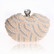 New Fashion Mini Women Dress Evening Bags Heart shaped Shoulder Bag Pearl Beading font b Party