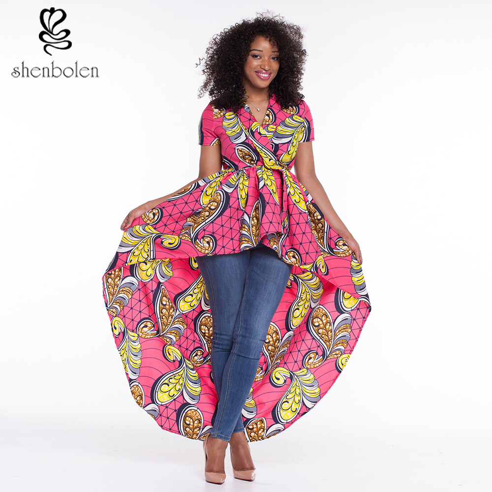 2017 African dresses for women dashiki ankara wax print batik pure cotton fashion sexy Irregular ...