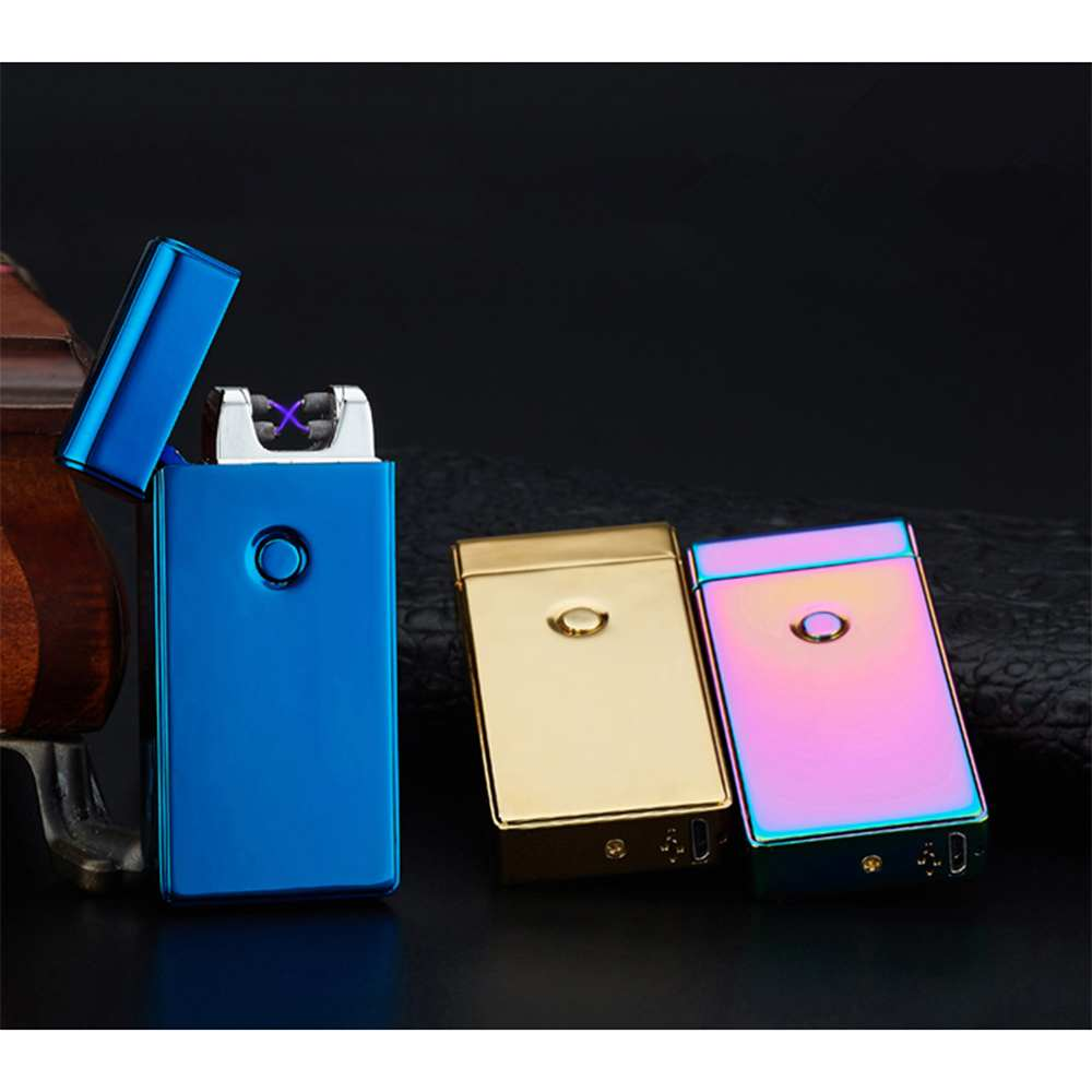 Impulse Lighter Double-arc Rechargeable Lighter Cross USB Pulse Lighter Flameless Lighting Cigarette Tool Hot Sale impulse d7 0