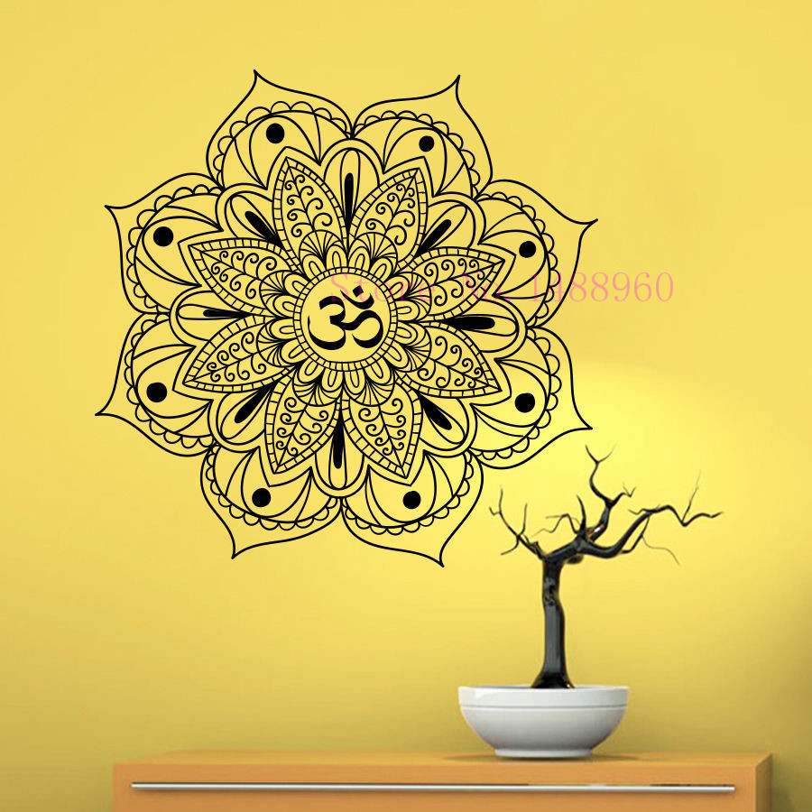E273 Yoga Mandala Indian Mehndi Buddha oum OM Symbol Mascot Mantra Chakra Meditation DIY wall stickers home decor mural