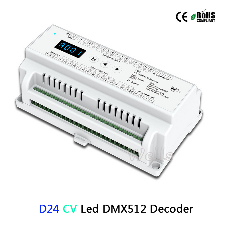 24 Channel CV Led DMX512 Decoder D24;DC5-24V input;3A*24CH PWM output led DMX512 RGB strip Decoder controller dmx512 digital display 24ch dmx address controller dc5v 24v each ch max 3a 8 groups rgb controller
