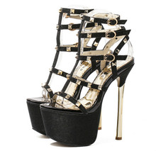 Summer Europe 17CM high with fine with waterproof sexy nightclub rivets Roman sandals party shoes