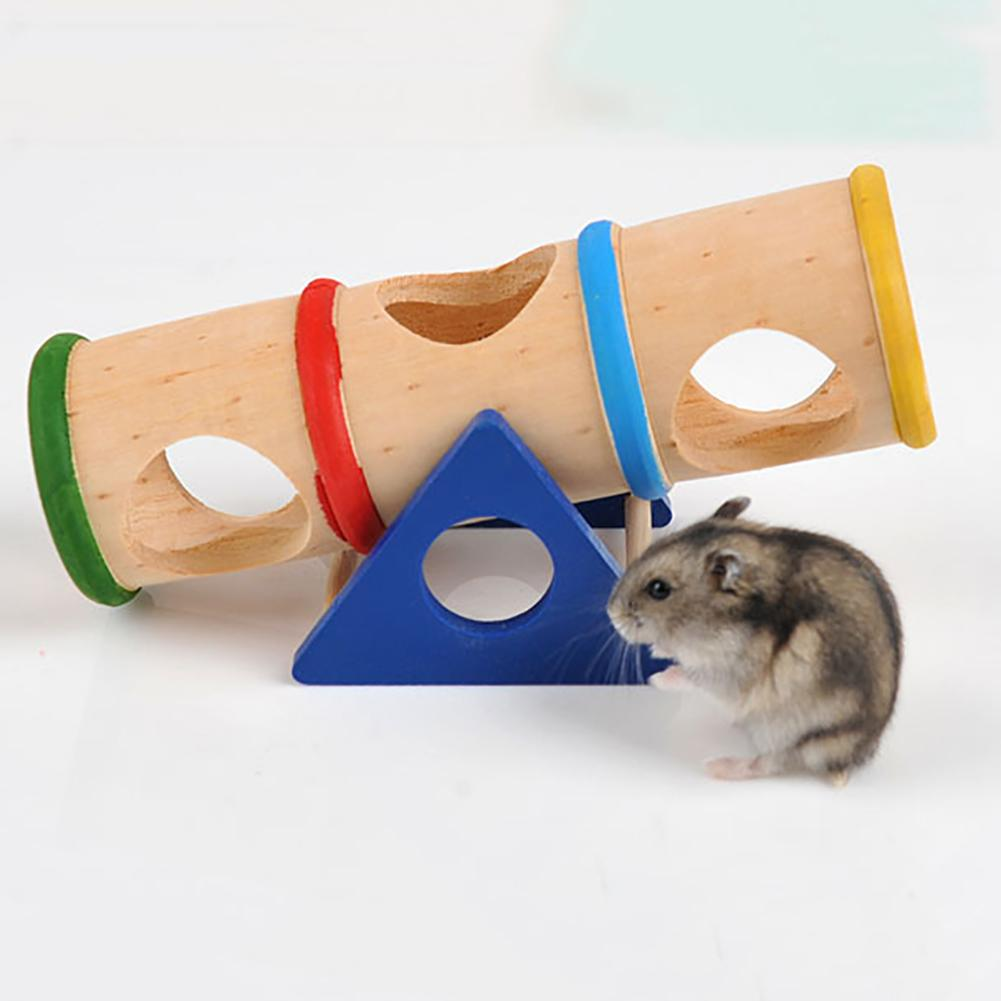 Wooden Hamster font b Pet b font Seesaw Barrel Tube Tunnel Cage House Hide Play Climing