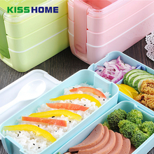 900ml Microwave Lunch Box Portable 3 Layers Bento Healthy Food Container Oven Dinnerware 6 Color Storage Boxes
