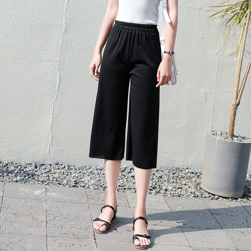 Chiffon Trousers For Women New Summer High Elastic Waist   Wide     Leg     Pants   Fashion Casual Loose Straight   Pants   Cal-length Trousers