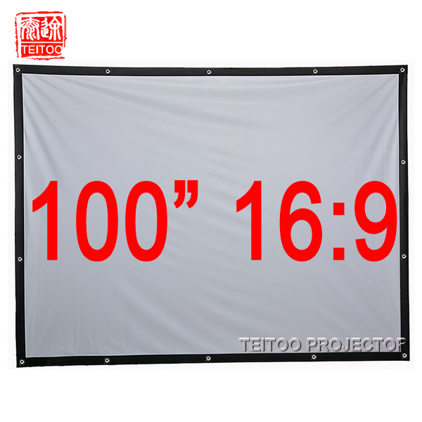 72-150 inch 16:9 Projector HD Screen Portable Foldable Front Projection Screen Canvas Fabric with Eyelets without Frame
