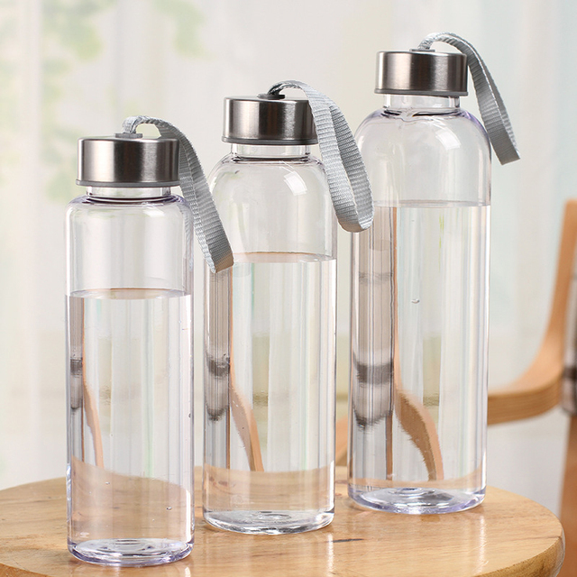 Outdoor Sports Portable Water Bottles Plastic Transparent Round Leakproof Travel Carrying for Water Bottle Drinkware sale 3