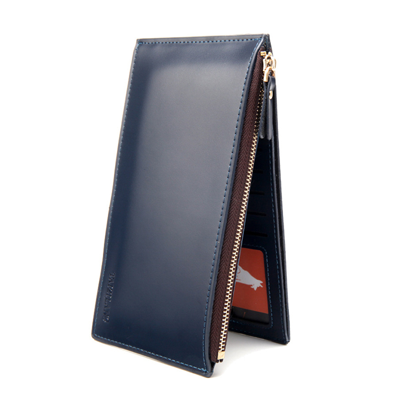 Male Purse Long Men Wallet Patent Leather Male Card Wallet Coin Holder Slim Clutch Zipper Designer Phone Mo y Pocket Male Purse business men clutch bags classic wallet genuine leather male cell phone purse long style card holder clutch bags