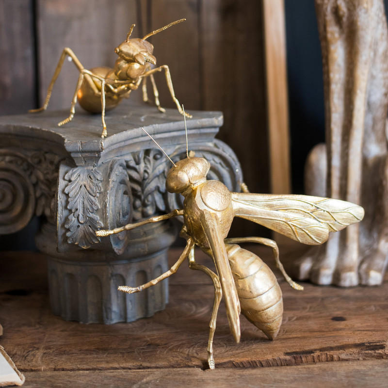 Современные золотые неоклассические гигантские насекомые украшения изделия из смолы пчела мантис муравей домашний декор для гостиной Раб