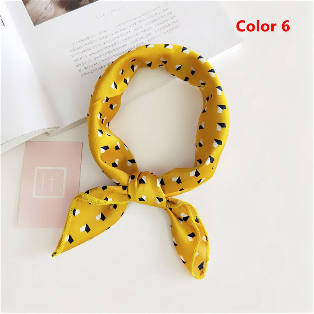 Summer Women Fashion Yellow Elegant Small Vintage Square Silk Feel Satin Scarf Skinny Retro Head Neck Hair Tie Band Accessories