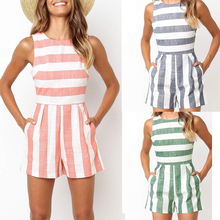 2019 fashion summer Multicolor stripes womens loose jumpsuit beach style O-neck sleeveless regular Rompers