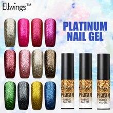 Ellwings 1pcs Glitter Platinum Nail Gel Varnish Long Lasting UV Nail Gel Polish Soak Off Nail Lacquer 12 Colors