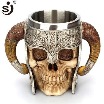 SJ Double Stainless Steel Skull Mug Beer Stein Tankard Coffee Mug Tea Water Cup Knight Helmet Halloween Bar Drinkware Gift
