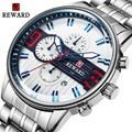 BELONING Luxe Zilveren Roestvrij Stalen Horloge mannen Sport Horloges Merk Chronograaf Quartz Waterdicht Horloge Relogio Masculino