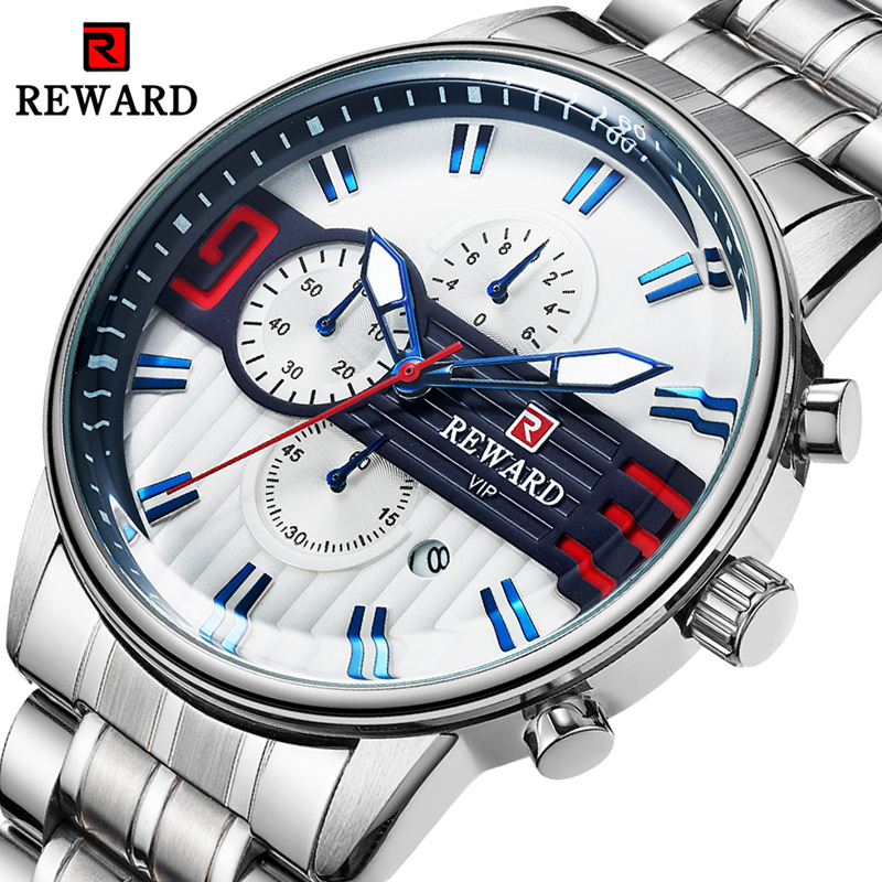 REWARD Luxury Silver Stainless Steel Watch Men's Sport Watches Brand Chronograph Quartz Waterproof Wristwatch Relogio Masculino