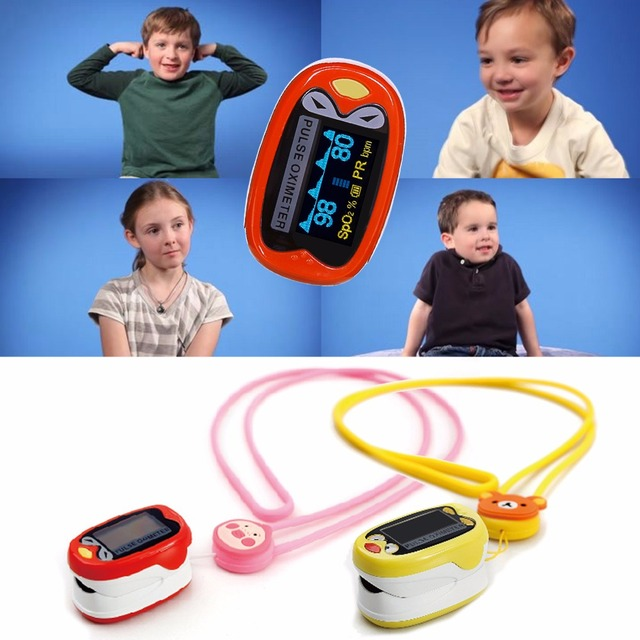 +Battery Children Kids Finger Pulse Oximeter for Pediatric Child oximetro Pulsoximeter SPO2 PR Cute Design for Chindren