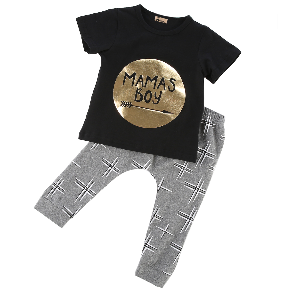 2Pcs  Mamas Boys Printed Jumpsuit Outfit Sets  Newborn Toddler Baby boys girls Infant Clothes Golden Letter 0-24M fashion 2pcs set newborn baby girls jumpsuit toddler girls flower pattern outfit clothes romper bodysuit pants
