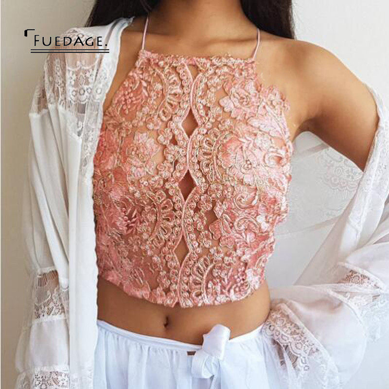 13c28132c7ee6 Fuedage 2017 New Sexy Wrapped Vest Crop Top Women Summer Autumn Embroidery Cropped  Spaghetti Strap Short