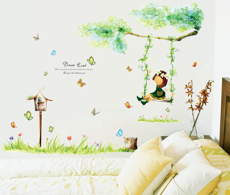 The Theme Of Childhood Nostalgia Home Decoration Wall Stickers A Little Was Swinging And Other Children Bedroom Wallpaper In From