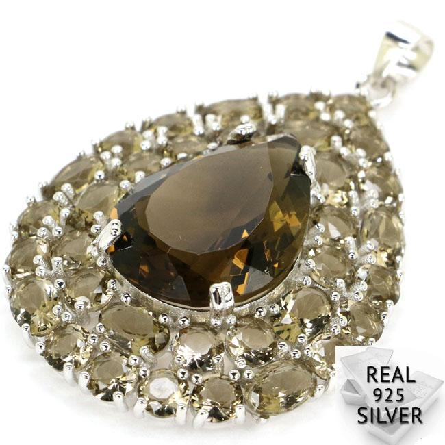 Guaranteed Real 925 Solid Sterling Silver 9g Top Long Big Gem Smoky Quartz Womans Pendant 45x30mm