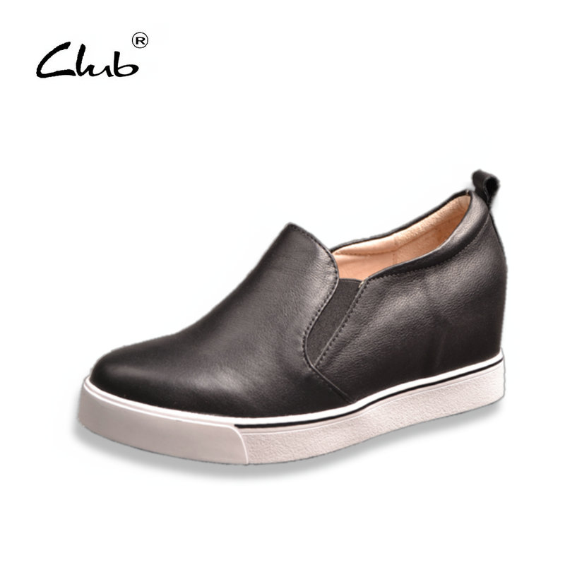 Club Women Shoes Comfortable Genuine Leather Increased Internal Womens Wedges Slip-on Round Toe Casual Platform Ladies Shoes genuine cow leather spring shoes wedges soft outsole womens casual platform shoes high heel round toe handmade shoes for women