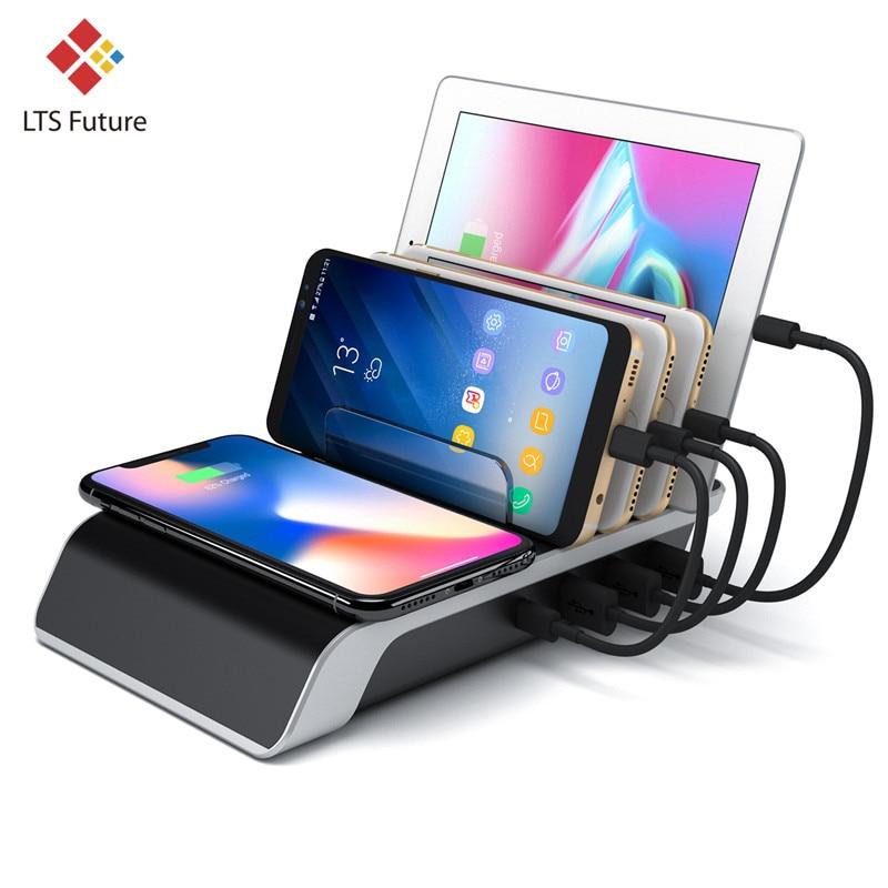 Быстрое беспроводное зарядное устройство для Iphone samsung Qc 3,0 Быстрая зарядка несколько Usb портов зарядная док-станция Настольный телефон Органайзер несколько