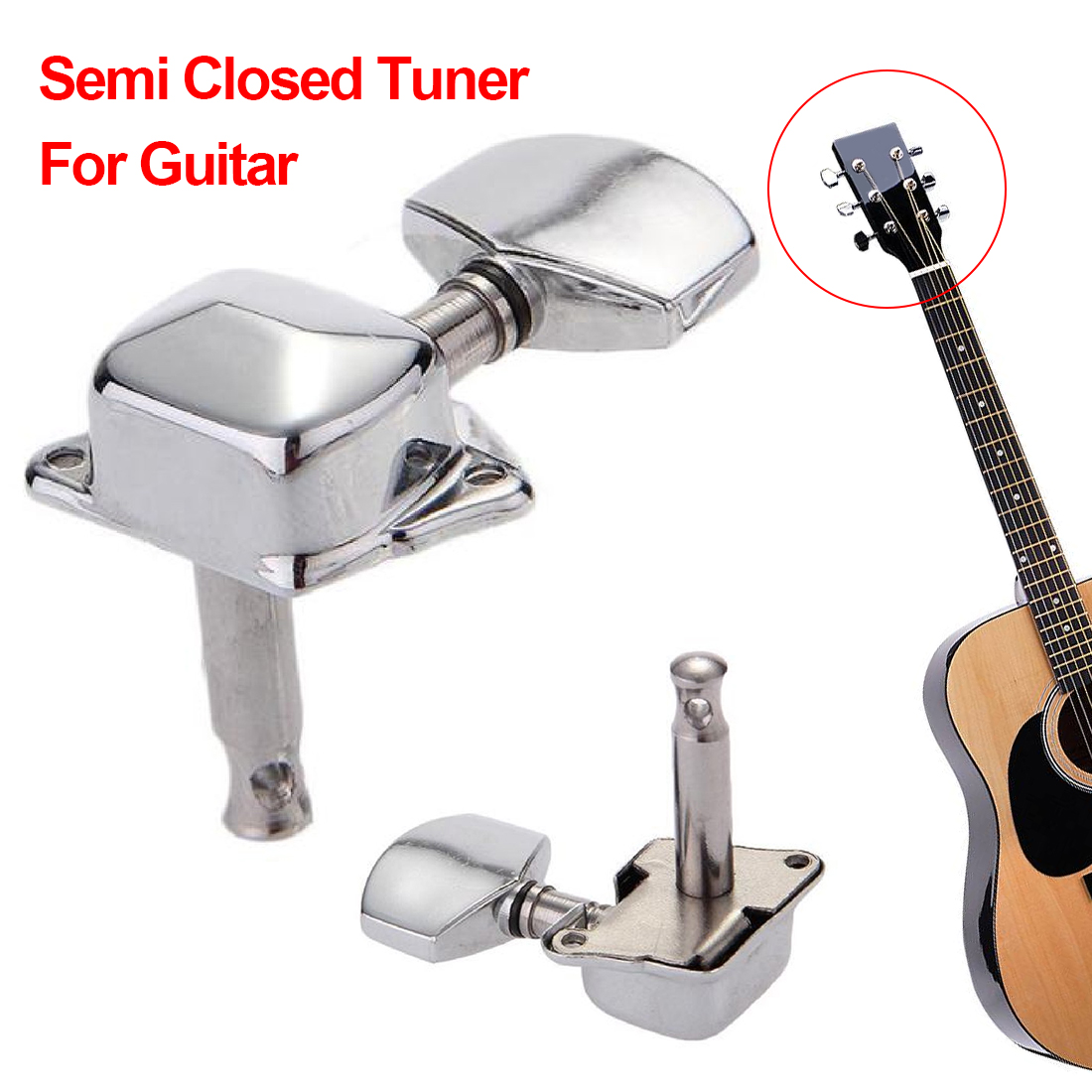 New Arrival Left Knob Electric Acoustic Retro Durable Vintage Semi Closed Tuning Peg String Tuner Guitar Accessories