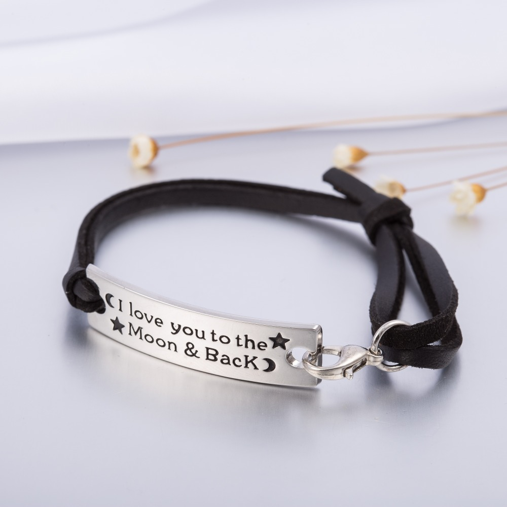 Rectangle Stamped I Love You To The Moon And Back Charm Leather Bracelet Inspirational Jewelry Valentine Gift for Girlfriend