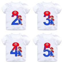 Super Mario Number 1-9 Letter Print Boys/Girls T shirt Kids Happy Birthday Gift Number Clothes Baby Cartoon T-shirt,HKP5233