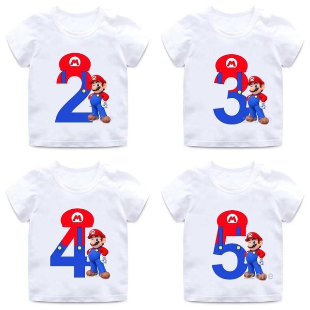 super mario number 1 9 letter print boysgirls t shirt kids happy birthday