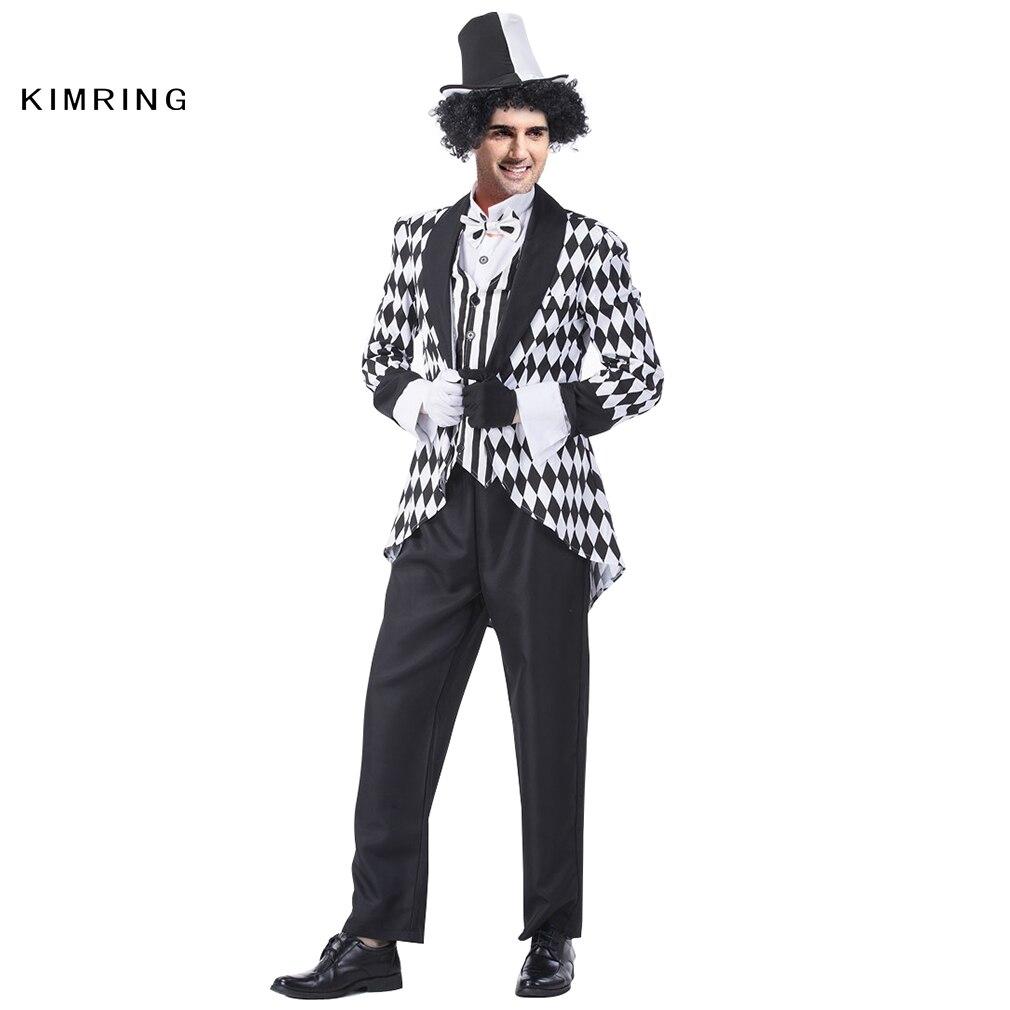 kimring deluxe harlequin costume cosplay adult men clown joker