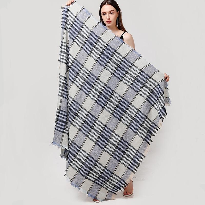Striped Scarf Women 2020 New Winter Cashmere Scarves Square Shawls For Lady Wraps Knit Blanket Foulard Bandana Neck Warm Scarfs