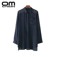 OMCHION Blusas Mujer De Moda 2017 Loose Solid Rivets Women Blouses Casual Spliced Long Sleeve Summer