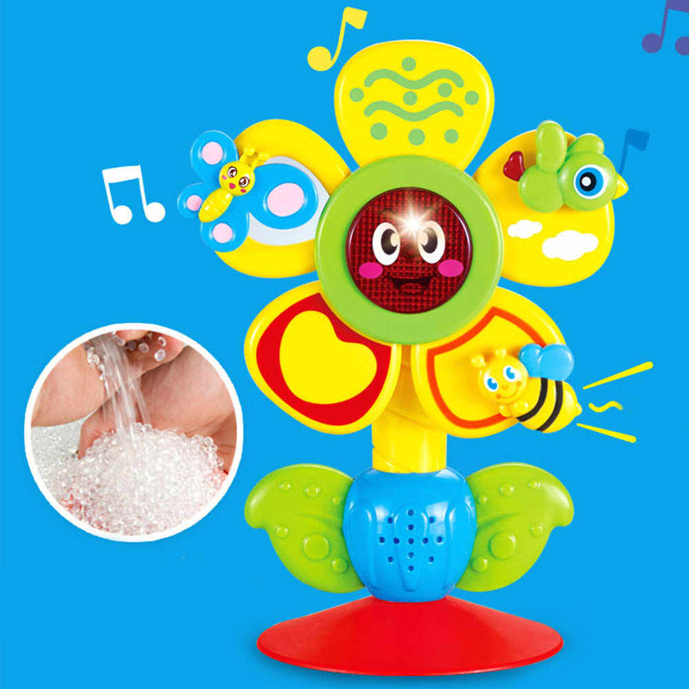 Sun Flower baby Feeding Helper Toy Animal Ferris Wheel Rattle Toy Baby Puzzle Dining Chair Cart Suction Cup Toy